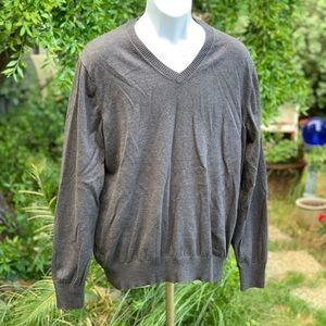 EDDIE BAUER Gray Cotton Merino Sweater Sz Lg